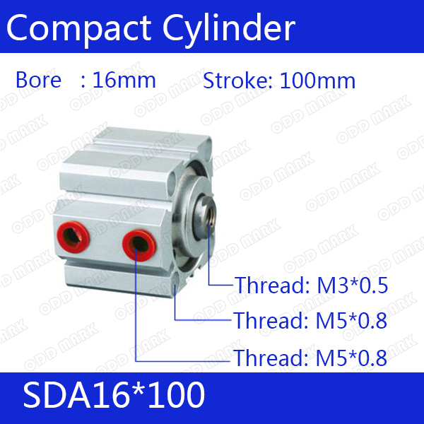 SDA16*100 Free shipping 16mm Bore 100mm Stroke Compact Air Cylinders SDA16X100 Dual Action Air Pneumatic Cylinder SDA16-100 sda100 30 free shipping 100mm bore 30mm stroke compact air cylinders sda100x30 dual action air pneumatic cylinder