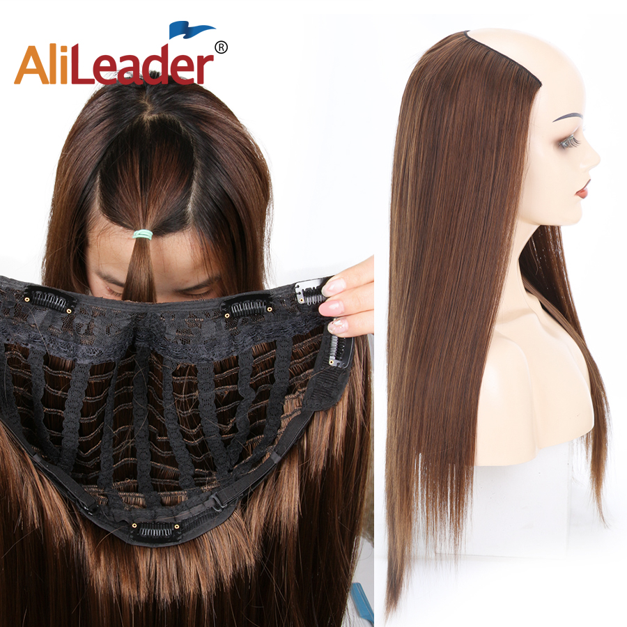 2019 Latest Design Alileader 24inch Half Aynthetic Halo Hair Wig Clip Long Silk Straight Heat Resistant U Part Hair Wigs For Black Women Mix Blonde