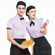 (5 get 10% off, 10 get apron)Man/woman short sleeve coffee shop restaurant hotel waiter shirt uniform work wear work clothes