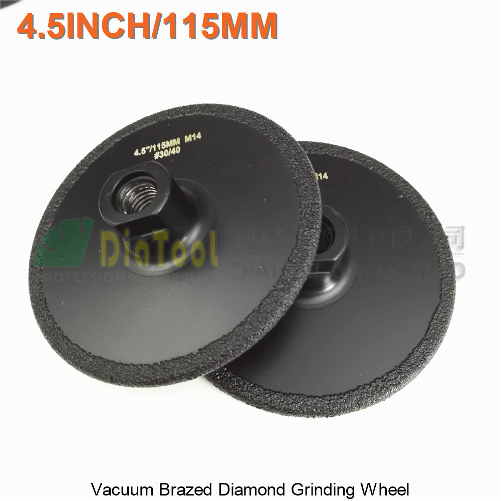 DIATOOL 2pcs 4.5 Vacuum Brazed Diamond Flat Grinding Wheel M14 Grit #30 Beveling Wheels Grinder Disc For Engineer Stone Granite diatool 2pcs 14 vacuum brazed diamond disc for multi purpose cast iron rebar aluminum 350mm rescue diamond blade