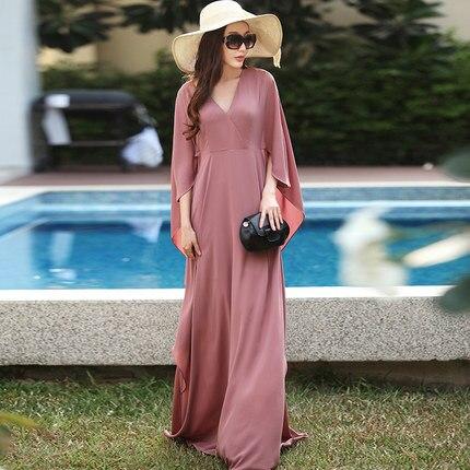 WBCTW High Waist Women Dress Plus Size Long Chiffon Flare Butterfly 2 3  Sleeve Maxi Dresses Vintage Autumn vestido de festa 10d77cbb6b