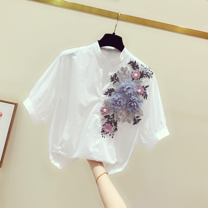 2019 Summer New Embroidery Flower Women Blouse And Shirts Cotton Office Lady White Shirts All Match Outwear Tops