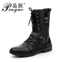 mens fashion black party nightclub wear breathable cow leather rivets shoes mid calf motorcycle boots sapatos masculino botas