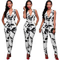 Sexy Women black and white printed Jumsuits Ladies Summer Clubwear Playsuit Party Jumpsuit&Romper Long Trousers