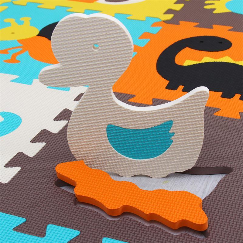 Meiqicool tapis de Puzzle de jeu en mousse EVA bébé 16 pièces, tapis et tapis de sol à emboîtement noir et blanc, tapis 16 carreaux pour kis. Bord libre. - 4