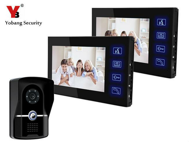 Yobang Security Video Door Intercom IR Camera 7 inch TFT Color LCD Display Video Door Phone Intercom Doorbell Night Vision tmezon 4 inch tft color monitor 1200tvl camera video door phone intercom security speaker system waterproof ir night vision 1v1