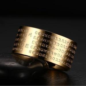 Image 4 - Meaeguet 10mm רחב בציר תפילה Bijoux טבעות לנשים גברים 316L נירוסטה 2 צבעים סיני כתבים בודהיסטים טבעת
