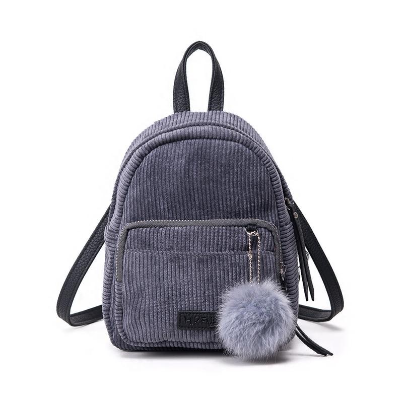 Girl Backpack Small Mini Backpack Small Women Shoulder Bag Fur Ball Solid Color Corduroy Back Pack winter Velvet Schoolbag 234