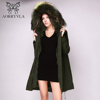 AORRYVLA 2017 Winter Women Real Fur Parka Long Army Green Luxurious Raccoon Fur Collar Jacket With