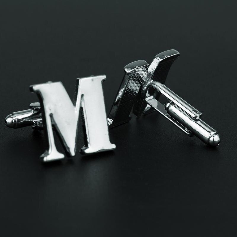Cufflinks for Men Shirt Suit Cuff Buttons Gentleman Letter M Cuff Links Pins