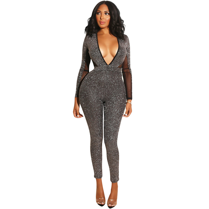 Deep V Neck Glitter   Jumpsuit   for Women Autumn Winter Mesh Patchwork Long Sleeve Open Back Bodycon Sparkly Romper Party   Jumpsuits