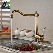 Палуба Гора Золотая Кухонный Кран Однорычажный Горячая Холодная Вода Смеситель для Кухни