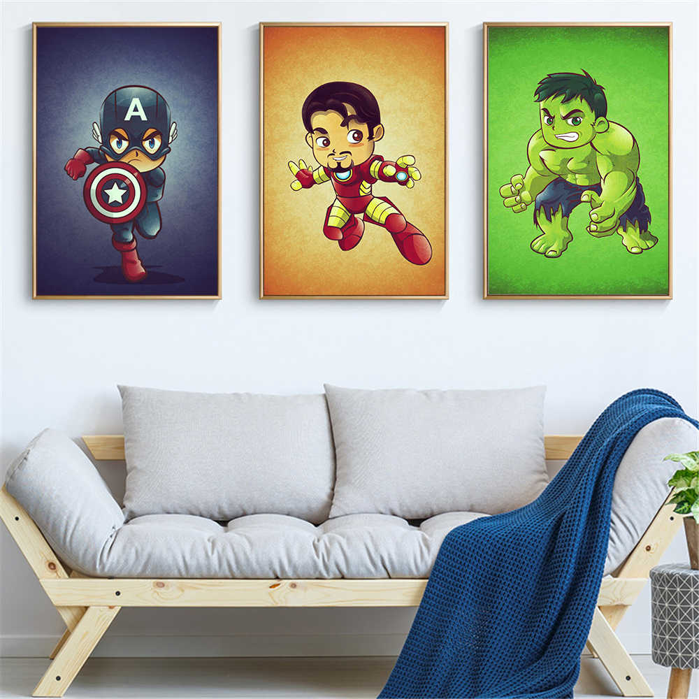 Canvas Painting Mini Cartoon Marvel Character Poster And Print Superheros Iron Hulk Thor Wall Picture For Living Room Cuadros