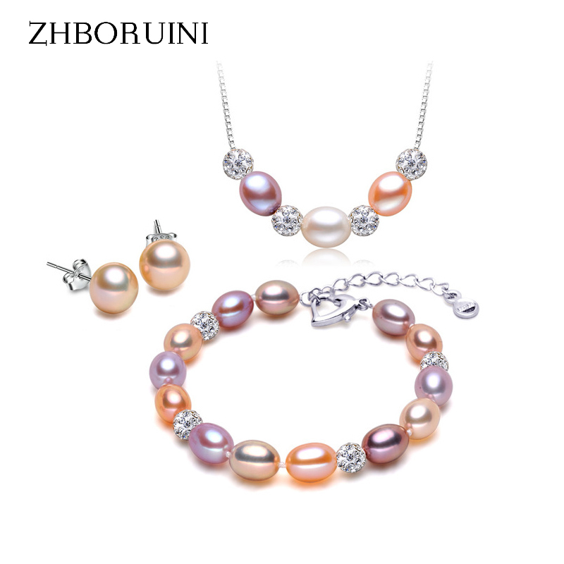 ZHBORUINI Fashion Necklace Pearl Jewelry sets Natural Pearls Drop Pearl 925 Sterling Silver Necklace Earrings Pendants For Women solememo luxury crystal pearl jewelry set for women wedding silver round statement necklace sets pearl drop earrings new n6209