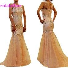 Cristalli Di Lusso Abito Da Sera Mermaid Coral Prom Dresses Strass Paillettes Lungo Vestito Partito Abendkleider Robe Soiree