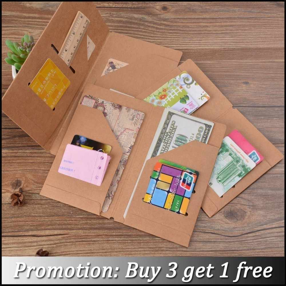 Moterm Kraft Paper File Holder For Travel Journal Notebook Accessory Vintage Retro Card Pocket Storage Standard/Pocket/Passport