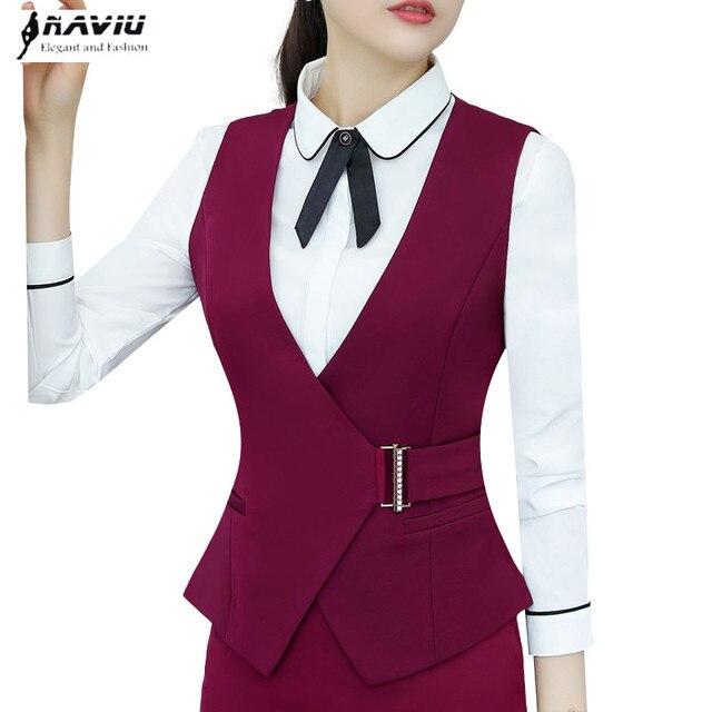 4ea22c418b Otoño profesional de las mujeres chaleco OL moda elegante cuello en V  chaleco Delgado abrigo señoras