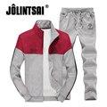 Jolintsai Фитнес Спортивный Костюм Мужчины 2017 Лоскутное Sportwear Мужчины Осень Повседневная мужская 4XL Толстовки Sweatershirts + Sweatpant Набор
