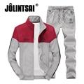 Jolintsai Fitness Tracksuit Men 2017 Patchwork Sportwear Men Autumn Casual Men's 4XL Hoodies Sweatershirts+Sweatpant Set