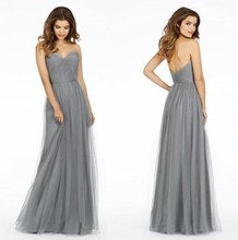 2016 Custom Made Long Sweetheart Gray Tulle Junior Bridesmaid Dress Party Dresses for Wedding