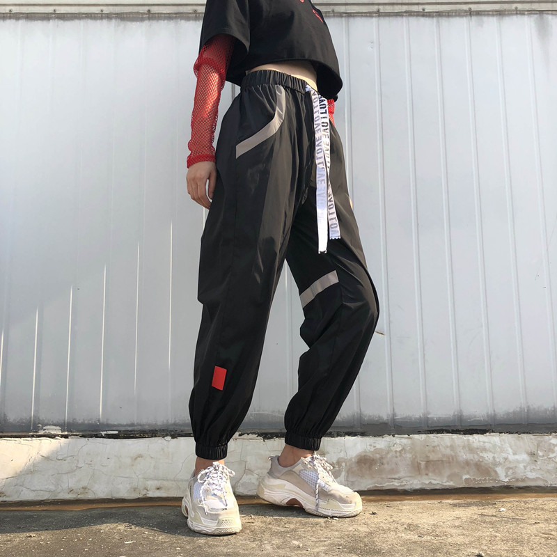 Image 3 - Sweetown Letter Striped Patchwork Black Sweat Pants Streetwear Casual High Waist Baggy Joggers Pants Women Hip Hop Sweatpants-in Pants & Capris from Women's Clothing