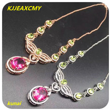 KJJEAXCMY boutique jewels 925 pure silver, Necklace of natural Topaz Blue Lotus powder drop female chain pendant send chain