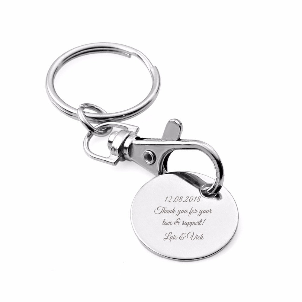 100Pcs Personalized Wedding Gift For Guests Custom Keychain Wedding Favor Silver Birthday Party Souvenirs With Organza