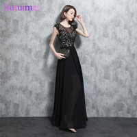 Real Photo New Arrival Black White Prom Dresses Chiffon Short Cap Sleeves Sexy Nude See Through Applique Long Prom Gown