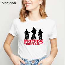 funny stranger things 3 t shirt women friends dont lie letter printed tshirt femme summer tops female t-shirt tumblr clothes