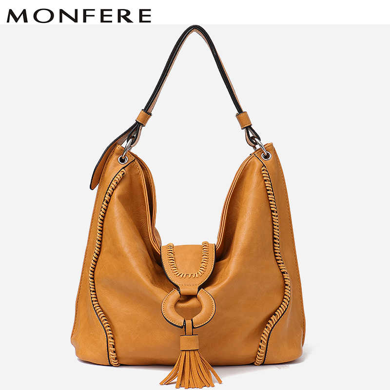 d073e7d4cad7 MONFERE модная веганская кожаная сумка с верхней ручкой женская сумка-тоут женские  большие откидная часть