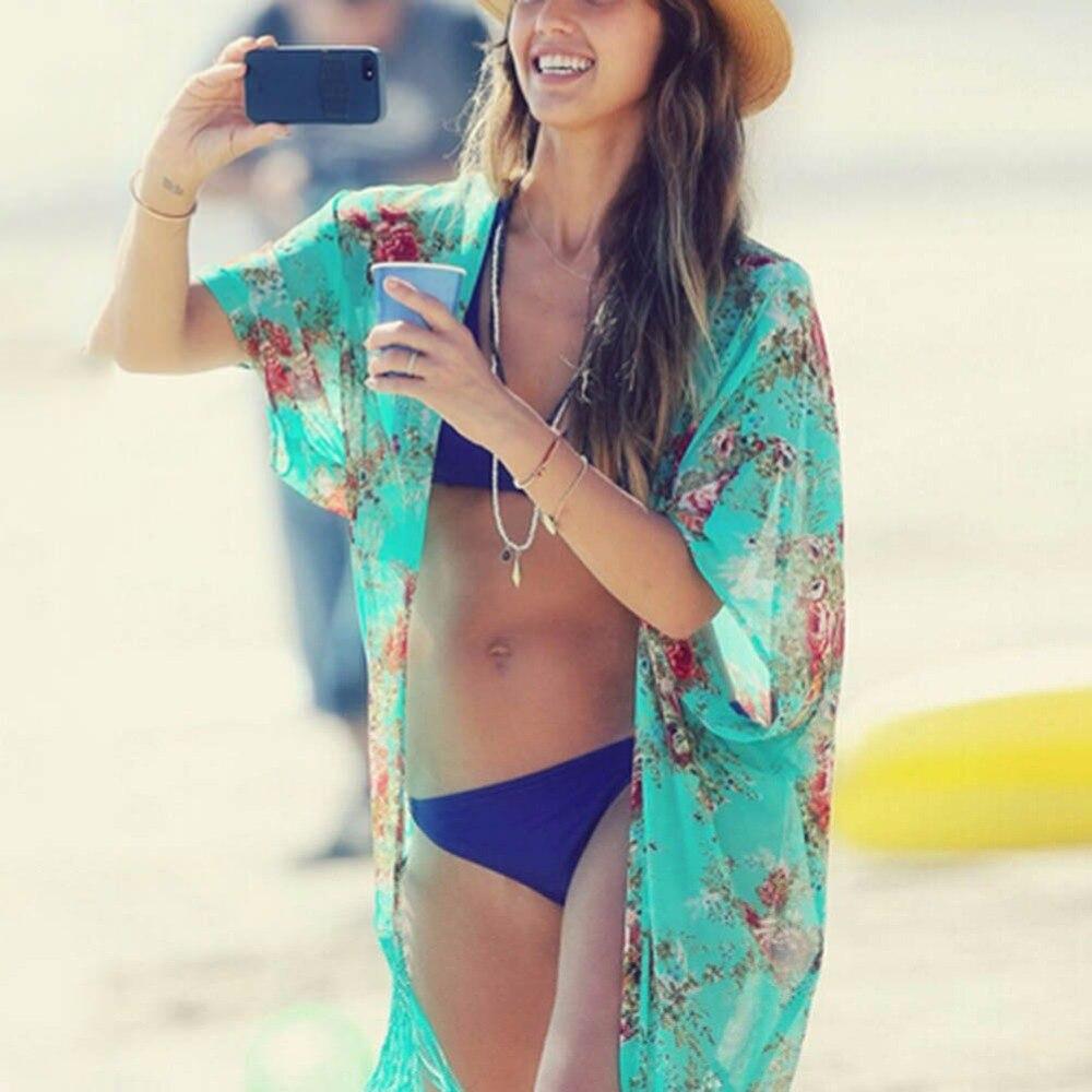 2018New Для женщин пикантные удобные Ленточки шифон Солнцезащитный крем Кардиган кафтан бикини Cover UP пляжное платье купальники