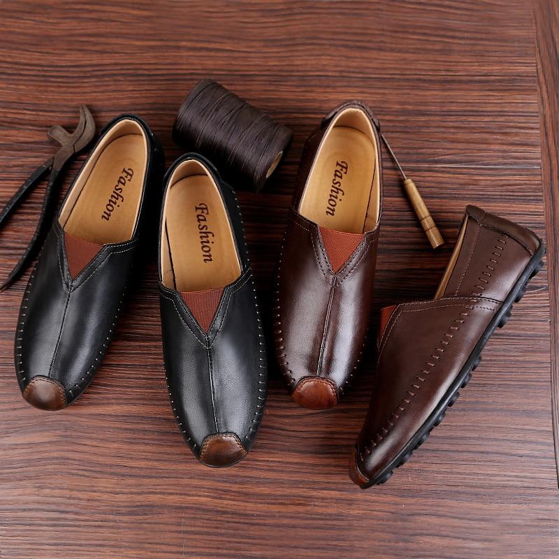 Respirável Brown Handmade Sapatos Homens Couro 47 black Causal Condução Plus De Deslizamento Moda Em Size Genuíno Mocassins 36 Gommino Macio xU7Apwrx