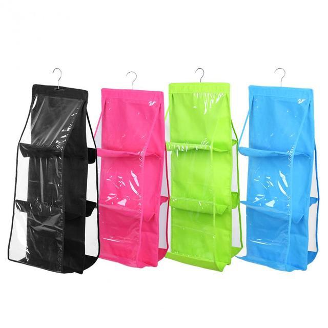 6 Pocket Folding Hanging Handbag Storage Organizer Hanging Sundry Shoe  Storage Bag For Close Storage Closet
