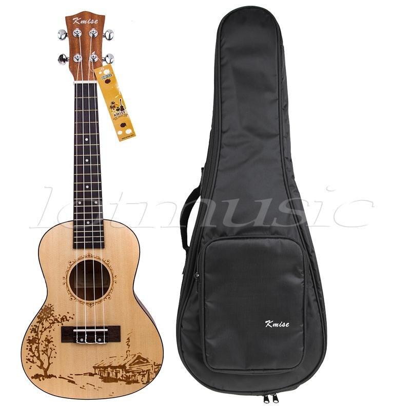 Kmise 23 Inch Solid Spruce Concert Ukulele Uke Hawaii guitar Musical Instruments w/Bag 12mm waterproof soprano concert ukulele bag case backpack 23 24 26 inch ukelele beige mini guitar accessories gig pu leather