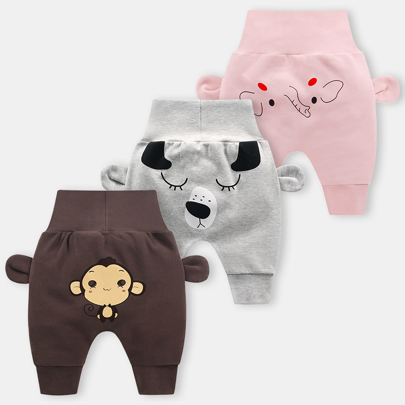 Neonatal Long Pants Cute Baby Boys Cartoon Pants Baby Girls Fashion High Waisted Trousers(China)