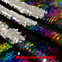 цена B·Y1yard Royal Multicolor to Silver Reversible Mermaid Fish Scale Sequin Fabric Sparkly Fabric For Dress Pillow Clothes Backdrop в интернет-магазинах
