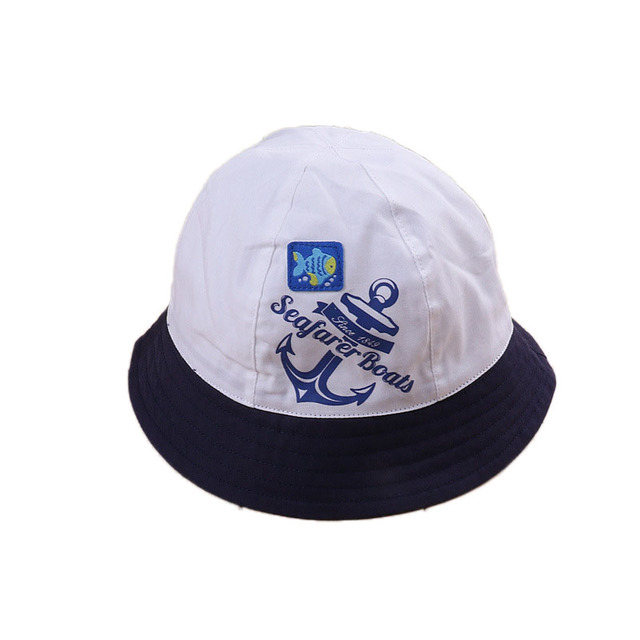 2018 Anchor Print Infant Baby Summer Hat Cotton Baby Boys Girls Beach Hat  Newborn Baby Sun Protection Hat 48dfca949ef