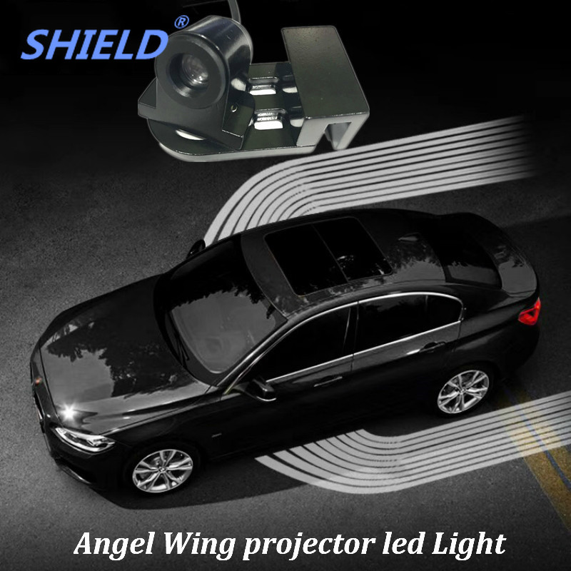 SHIELD 2Pcs Angel Wings Led Lights Logo Projector Car Led Welcome Light Shadow Courtesy DoorWarning Lamp For Cars and Motorcycle