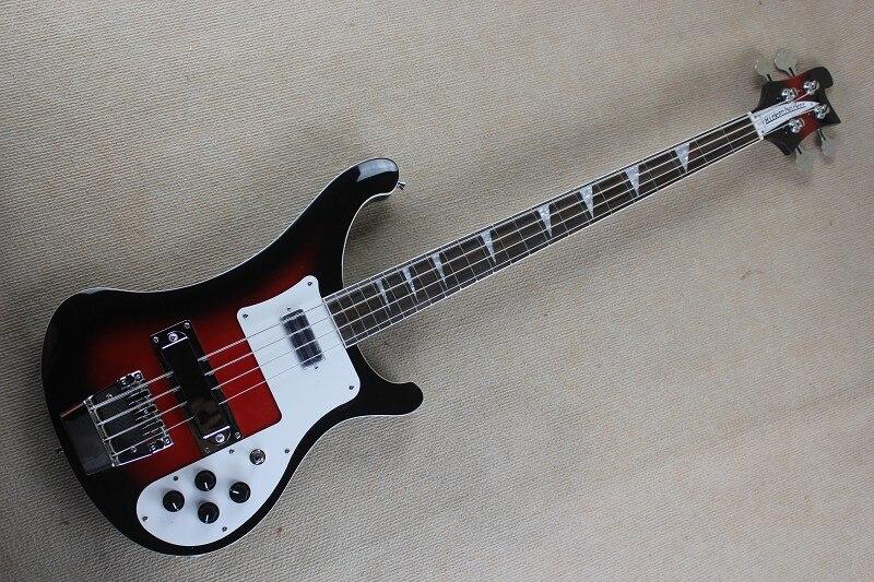 Qualité supérieure Noir bord rouge couleur 4 Cordes R4003 Rick Basse Guitare Chine Usine en stock 1411-11