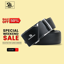 DUJIAOSHOU Business trend leather middle and young belt automatic buckle casual DJS9590-001