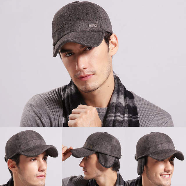 0fc57749458 placeholder  AETRENDS  Wool Feel Baseball Cap Russia Winter Hats Warm with  Fleece inside and Earflaps