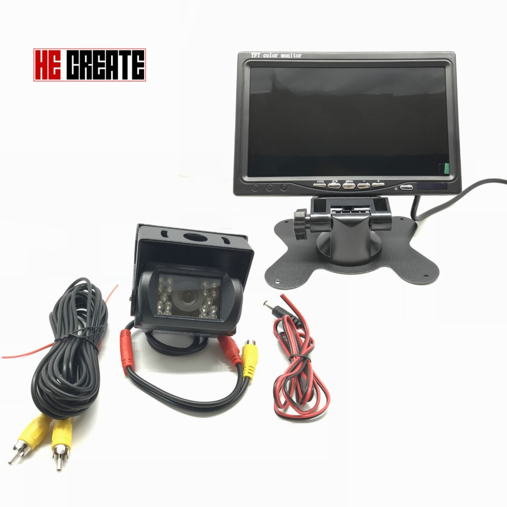 HE CREATE 12V 36V Truck Bus Parking Camera Monitor System HD 7 Inch Car Monitor With