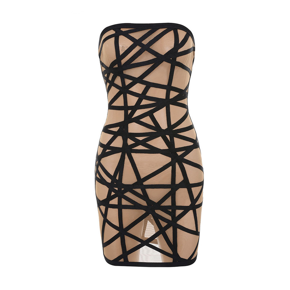 nude color block strapless 2017 elastic knitted sexy ladies new fashion rayon mini bandage dress