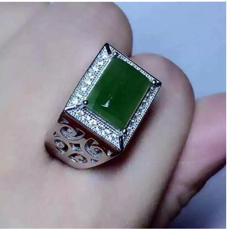 где купить Free shipping Natural Hetian Jade Man Ring 925 sterling silver Wholesales Fine jewelry 8*10mm gem по лучшей цене
