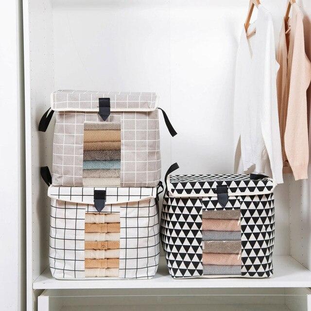 Multifunctional Cotton Linen Underwear Storage Box Collapsible Washable  Underwear Socks Garment Organizer Box With Lid Handle