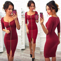 Ybenlow 2017 Summer Style Women Dress Solid Color Zippers Half Sleeve Asymmetricl Neck Knee Length Work