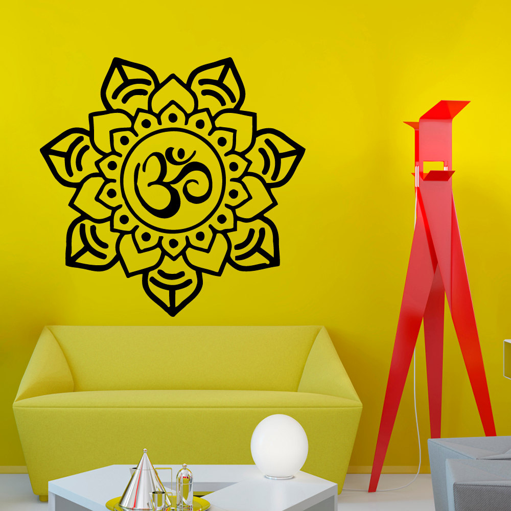 ZOOYOO Om Sign Home Decor Mandala Wall Sticker Art PVC Hollow Out ...