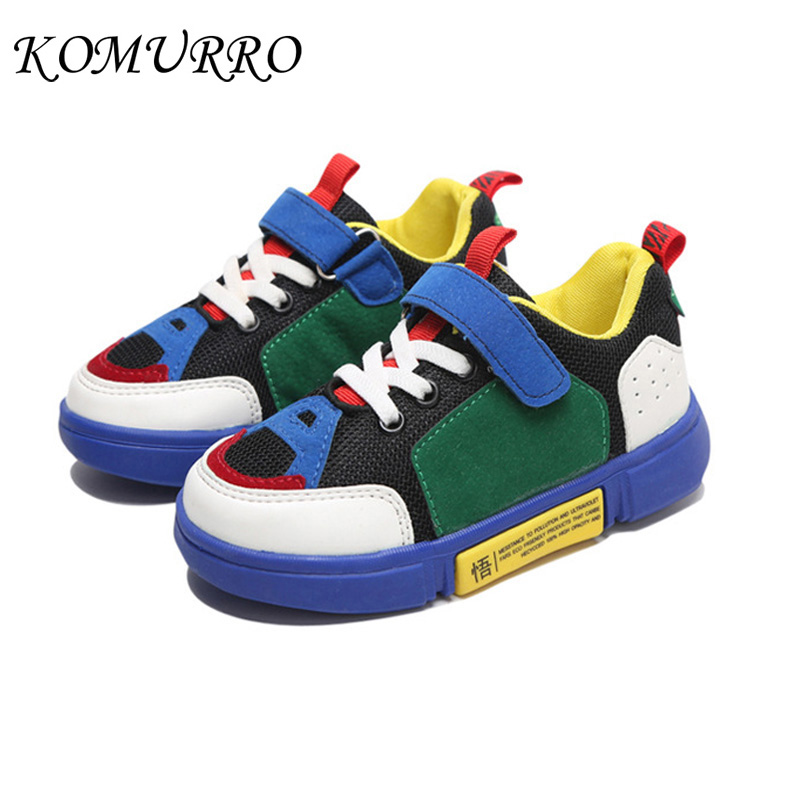 Children Shoes Sneakers Boys PU Leather Autumn Sports Shoes Girl Patchwork Mesh Breathable Sneakers Kids Spring School Boy Shoes