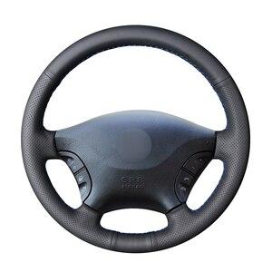 Image 1 - Ręcznie czarny z nitką PU sztuczna skóra osłona na kierownicę do samochodu Mercedes Benz W639 Viano Vito Volkswagen VW Crafter