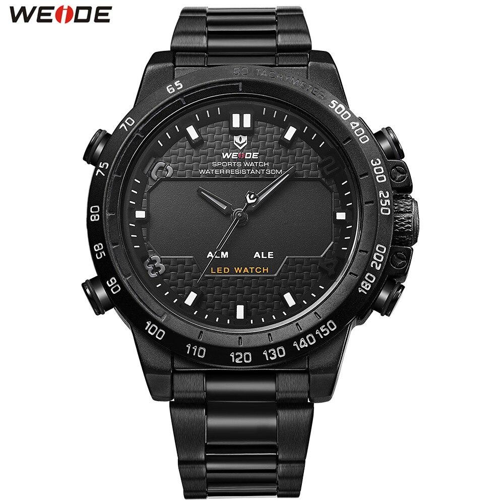 2018 Top Sale WEIDE Man Fashion Sports Watch Men LED Digital Quartz Watch Full Steel Band Military Wristwatch Relogios Masculino